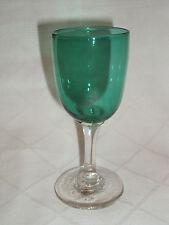 Bristol Green Dessert Wine Glass Hand Made Crystal Victorian Antique 19c Glass