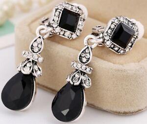 Pair Long Dangle Silver & Black Stone Clip On Earrings Diamante Non Pierce E100