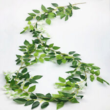 2X White Artificial Wisteria flower vine fake flowers ivy garland green leaves