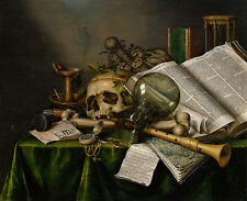 Vanitas - Still Life with Books and Manuscripts Collier Schädel Glas B A3 01731