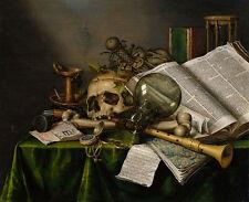 Vanitas-Still Life with books and Manuscripts Collier cráneo de cristal B a3 01731