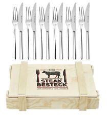 Grillbesteck Steakbesteck Set 12 Teilig Edelstahl Holzkiste Küchenmesser KHG