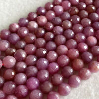 Natural Genuine Purple Pink Red Ruby Round Stone Necklace Bracelet Faceted Beads