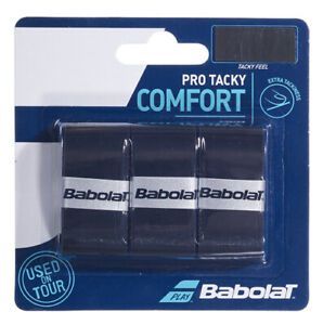 Babolat Pro Tacky Overgrip Tennis Overgrips - Pack of 3 - 0.6mm - Black