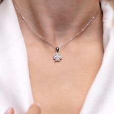 Sterling Silver Necklace- Free Shipping Clover Style Zircon Stone 925