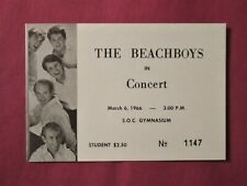 Original Beach Boys March 6, 1966 Southern Oregon College Unused Concert Ticket