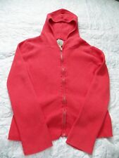 Peek Fleur Zip-up Hoodie Cardigan Sweater - Coral, Cotton Knit - Size XXL (12)