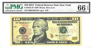 $10 2013 FEDERAL RESERVE NOTE PMG GEM UNC F 2042 B *  LUCKY MONEY VALUE $320