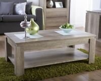 NEW Unique Oak Effect Luxury Coffee Table Stylish Living Room Furniture