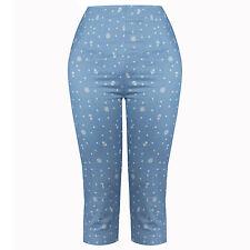 Womens Sexy Cropped Leg Capri Blue Nautical Print Retro Vintage 50s Trousers UK