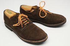 Brooks Brothers Mens Shoes 9.5 D Brown Suede Plain Tie Blucher Orange Laces