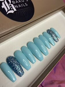 Hand Painted False Nails Gloss Baby Blue And Glitter Long Coffin Press On Nails