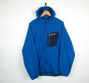 Mens Berghaus Blue Hooded Fleece Lightweight Outdoors Hiking Polar Jacket | XXL