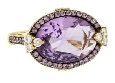 MASSIVE JUDITH RIPKA 18K YELLOW GOLD AMETHYST DIAMOND RING ESTATE