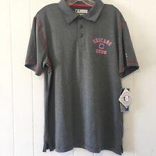 True Fan MLB Men's Medium Chicago Cubs Polo Shirt Genuine Grey Red Blue NEW