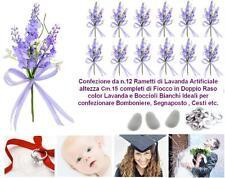 BUSTA N.12 RAMETTI FIORE LAVANDA Cm.15H con FIOCCO in RASO BOMBONIERA SEGNAPOSTO