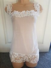 Womens white laced babydoll top/lingerie size M (Size 10-12)