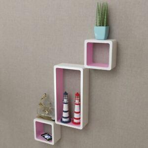 Floating Cube Shelf 3 Pcs Set Wall Floor Standing Decor Photo Display Bookshelf