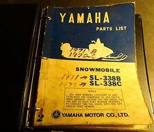 1971 & 1972 YAMAHA SNOWMOBILE SL-338B & SL-338C PARTS MANUAL READ  (750)