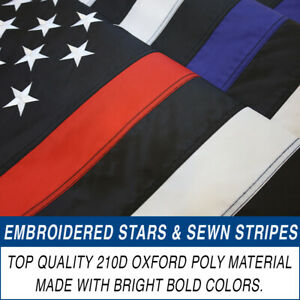 Embroidered Thin Red Blue Line Flag 3x5ft Thin Line Flag Police Fire Department