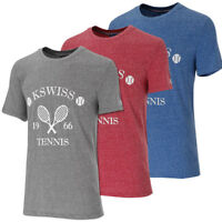 K-Swiss Men's Retro Tennis Graphic Fashion T Shirt Grey Red Blue Marl