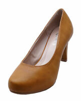 LADIES TAN LOW-HEEL SMART WORK SLIP-ON CASUAL COMFY COURT SHOES SIZES 2-7