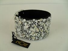 nOir Cuff Bracelet Black Band with Rhinestones and Shell Pieces NWT