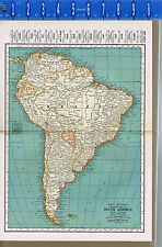 SOUTH AMERICA - Vintage 1930s Color Map with Principal COUNTRIES & Cities