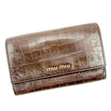 Auth Miu Miu tri fold Wallet Crocodile ladies used J16865