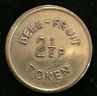 ENGLISH BELL FRUIT 6 Pence or 2 1/2 New Pence TOKEN c1970 Brass