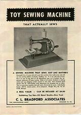 1946 PAPER AD Bradford Toy Sewing Machine