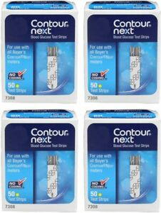 Contour Next Bayer Blood Glucose Test Strips (4 Boxes of 50) (EXP: 7/31/2022)
