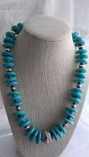 """20"""" Chunky Sterling Silver 21mm Graduated Turquoise Disk Bead Necklace"""