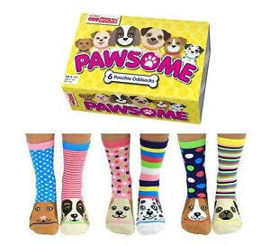 PAWSOME ODD SOCKS LADIES DOG UK 4 - 8 UNITED ODDSOCKS GIFT BOX GIFT IDEA