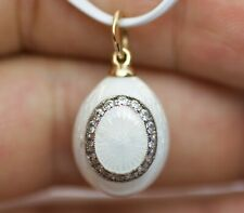 14k Yellow Gold Guilloche Faberge Round White Diamond Egg Shaped Enamel Pendant