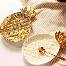 Gold Pineapple Ceramic Plate Jewelry Dish Golden Leaf Porcelain Plate Cosmetic S