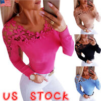 Womens Lace Long Sleeve Blouse Ladies Hollow Out Slim Fit Casual Tops T Shirt US