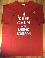 Men's Large Red Novelty T Shirt THE DUCK CO Keep Calm and Drink Bourbon Summer