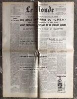 N74 La Une Du Journal Le Monde 26 Et 27 Juin 1960
