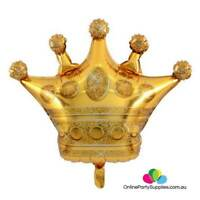 "35"" Jumbo Golden Crown Super Shaped Foil Balloon King Prince Princess Royal"