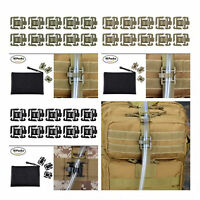 Pack of 10 Tactical Military Hydration Tube Pipe Clip Holder with Zippered Pouch