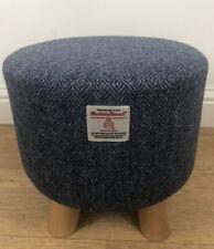 New Footstool made with Harris Tweed Fabric Blue/ Navy Herringbone