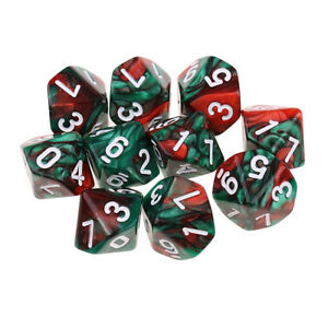 10pcs Polyhedral Dice D10 for  DND D&D Games Coffee Green