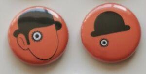 25mm Pin Badges A CLOCKWORK ORANGE 'ALEX' x 2 Droogs Tribute Cult Movie Classic