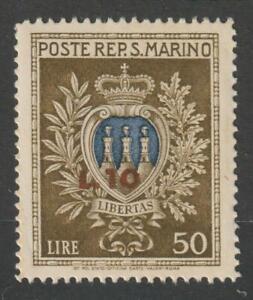 SAN MARINO 1946 Coat of Arms overprinted Lire 10 on Lire 50 MNH / N7993