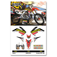 2009 - 2012 HONDA CRF 450 Dirt Bike Graphics kit Motocross Graphics Decal GEICO