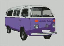 "VOLKSWAGEN VW T2 Transporter Van Viola contato CROSS STITCH KIT 13,75 ""X 10"""