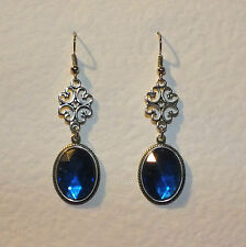 LACY FILIGREE VICTORIAN STYLE BLUE CRYSTAL DARK SILVER PLATED EARRINGS