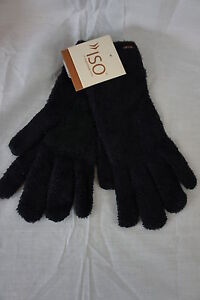 Isotoner Gloves Solid Black Nylon Soft & Cozy Casual Winter Outer Wear