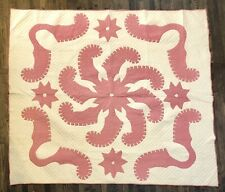 Beautiful Vintage Pink And White Feathered Pinwheel Appliqué Quilt